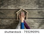 hands of a mother  father and... | Shutterstock . vector #755290591