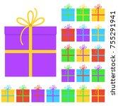 collection of twenty multi... | Shutterstock .eps vector #755291941