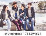 multi ethnic group of friends... | Shutterstock . vector #755294617
