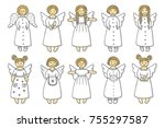 set of colored angel icons... | Shutterstock .eps vector #755297587