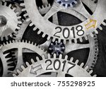 macro photo of tooth wheel...   Shutterstock . vector #755298925