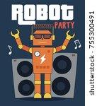 robot party illustration for t... | Shutterstock .eps vector #755300491
