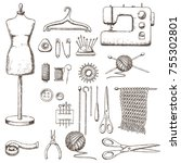 set of tools for needlework and ... | Shutterstock .eps vector #755302801