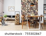 rustic apartment with table and ... | Shutterstock . vector #755302867