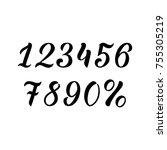 hand drawn lettering number...   Shutterstock .eps vector #755305219