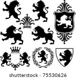 set of vector black heraldry...
