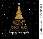 christmas and new year... | Shutterstock . vector #755306401