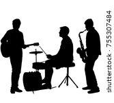 silhouettes street musicians... | Shutterstock .eps vector #755307484