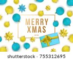 christmas  background with... | Shutterstock .eps vector #755312695