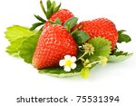 red ripe strawberry on white background - stock photo
