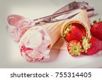 wafer cones with strawberry ice ... | Shutterstock . vector #755314405
