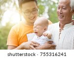 happy grandfather  father and... | Shutterstock . vector #755316241