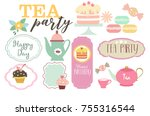 tea party set | Shutterstock .eps vector #755316544
