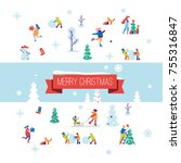 merry christmas background with ... | Shutterstock .eps vector #755316847