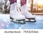 close up of woman ice skating... | Shutterstock . vector #755325361