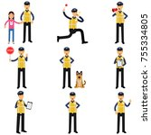 cartoon set of road policeman... | Shutterstock .eps vector #755334805