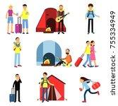 cartoon men and women tourists...   Shutterstock .eps vector #755334949