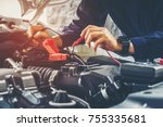 hands of car mechanic  working... | Shutterstock . vector #755335681
