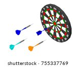 dartboard and darts arrow.... | Shutterstock .eps vector #755337769