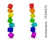 Falling pyramids from toy cubes isolated - stock photo