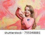 girl hold moneybox or piggy... | Shutterstock . vector #755348881