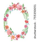 bright flower wreath in red and ... | Shutterstock .eps vector #755350051