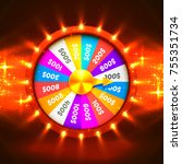 colorful fortune wheel.... | Shutterstock .eps vector #755351734
