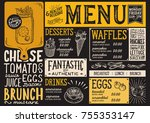 brunch food menu for restaurant ... | Shutterstock .eps vector #755353147