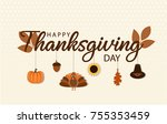 thanksgiving card or background.... | Shutterstock .eps vector #755353459