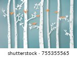 Stock vector  illustration of winter season bird are flying in the forest paper art and digital craft style 755355565