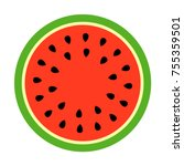 watermelon round slice vector... | Shutterstock .eps vector #755359501