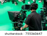 cameraman taking a broadcast... | Shutterstock . vector #755360647
