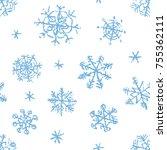 christmas snowflake hand... | Shutterstock .eps vector #755362111