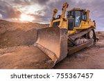 excavator on a road...   Shutterstock . vector #755367457