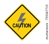 caution high voltage sign on... | Shutterstock .eps vector #755367715