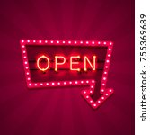 neon sign with text open arrow  ... | Shutterstock .eps vector #755369689