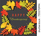 happy thanksgiving day... | Shutterstock .eps vector #755370994
