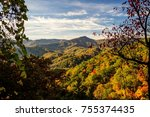 Great Smoky Mountains Scenic Autumn Landscapes. Autumn colors from an overlook in the Great Smoky Mountains National Park in Gatlinburg, Tennessee.