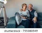 elderly couple sitting on the... | Shutterstock . vector #755380549