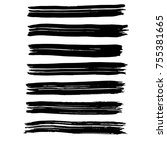 brush stroke set. background. | Shutterstock .eps vector #755381665