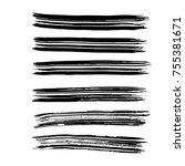 brush stroke set. background. | Shutterstock .eps vector #755381671