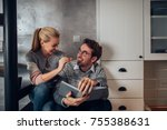 young woman giving her... | Shutterstock . vector #755388631