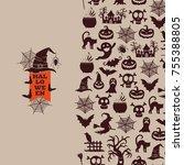 vector halloween background... | Shutterstock .eps vector #755388805