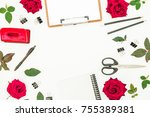 feminine desk workspace with... | Shutterstock . vector #755389381
