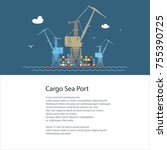 seaport at sea and text  poster ... | Shutterstock .eps vector #755390725