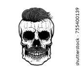 zombie skull illustration... | Shutterstock .eps vector #755400139