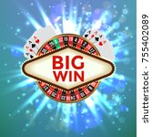 the big win retro banner with... | Shutterstock .eps vector #755402089