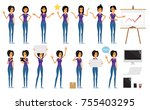 flat woman character poses with ... | Shutterstock .eps vector #755403295