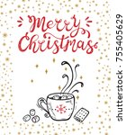 merry christmas greeting card.... | Shutterstock .eps vector #755405629