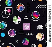 seamless pattern with bright... | Shutterstock .eps vector #755406844